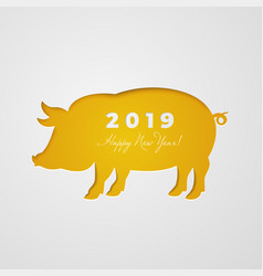 Cut out pig in paper design isolated on white vector