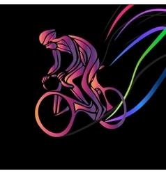 Cyclist in a bike race Color clipart vector image