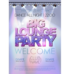 Disco background Big lounge party poster vector