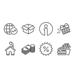 discount opened box and savings icons present vector image