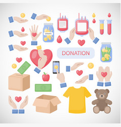 Donation and charity flat icon set vector
