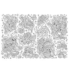 Doodle set japan food objects vector