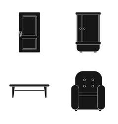 Door shower coffee table armchairfurniture set vector
