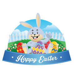 easter bunny with an easter egg vector image