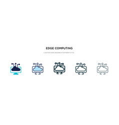 Edge computing icon in different style two vector