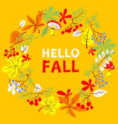 Fall season wreath autumn border with bright vector
