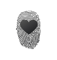 fingerprint scan set with love heart symbol vector image