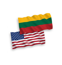 flags lithuania and america on a white vector image