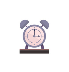 flat alarm clock on table with isolated white vector image