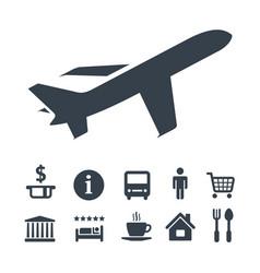 flat monochrome travel icons set vector image