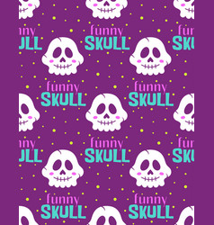 Funny skull seamless pattern on purple background vector