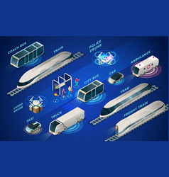 futuristic transport or smart city isometric icons vector image