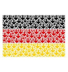 Germany flag collage of arrow down icons vector