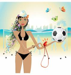 Girl plays volleyball vector
