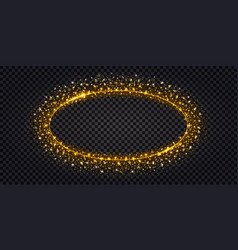 Golden luxury frame with glowing sparkles vector