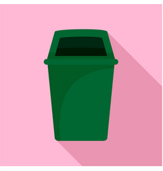 green park garbage can icon flat style vector image