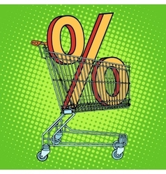 Grocery cart percentage discount vector