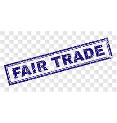 Grunge fair trade rectangle stamp vector