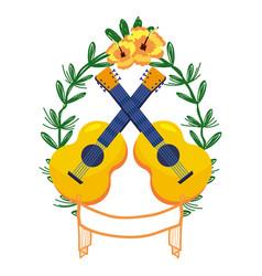 Guitars on laurel wreath vector