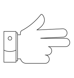 gun gesture icon outline style vector image