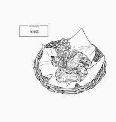 Hand drawn sketch buffalo chicken wings in basket vector