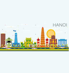 Hanoi skyline with color buildings and blue sky vector