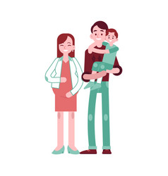 happy young family with vector image