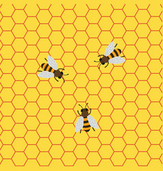 Honey background with bees working on a honeycomb vector