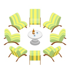 Isometric armchairs with wooden armrests and a vector image