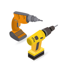 isometric construction power tools drill power vector image
