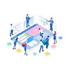 Isometric seo analytics team concept contents vector