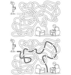 Kids reading maze vector