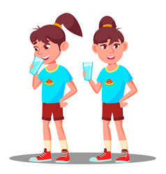 little girl drinks from a glass of water vector image
