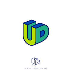 logo u and d letters block like 3d flat network we vector image