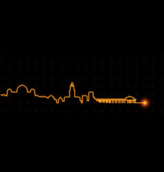 los angeles light streak skyline vector image