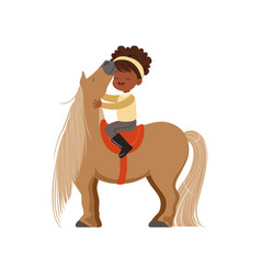 Lovely african american little girl riding pony vector