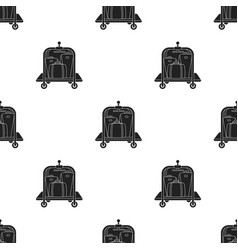 Luggage cart icon in black style isolated on white vector