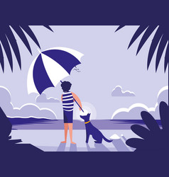 man in tropical beach seascape scene vector image
