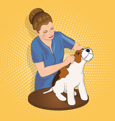 Master salon for animals trimming the dog vector