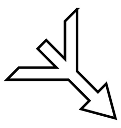 Merge Arrow Right Down Thin Line Icon vector
