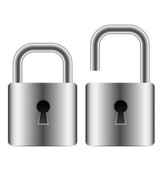 Metallic padlocks - open closed padlocks vector