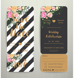 Modern wedding invitation black and white stripes vector