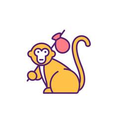monkey rgb color icon vector image