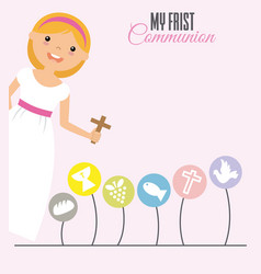 my first communion girl vector image