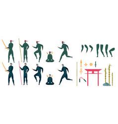 Ninja characters action animation creation set vector