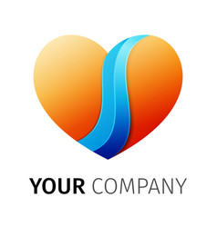 orange and blue heart logo design ribbon vector image