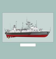 Patrol ship detailed image a warship vector