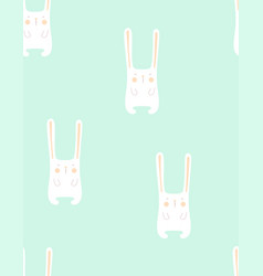 pattern seamless bunny isolated on blue vector image