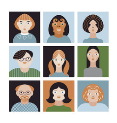 people avatar face collection vector image