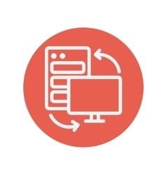Personal computer set CPU thin line icon vector